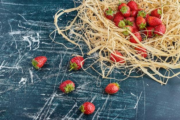 Erdbeeren in einem vogelnest.