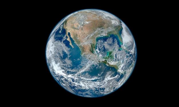 Erde auf einem schwarzen hintergrund. elemente dieses bildes von der nasa geliefert