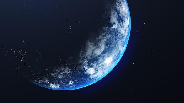 Erde im weltraumansicht mit leuchtendem sonnenaufgang im universum und im galaxienhintergrund. natur- und weltumweltkonzept. wissenschaft und globus. fantasie himmel atmosphäre. 3d-illustration rendern