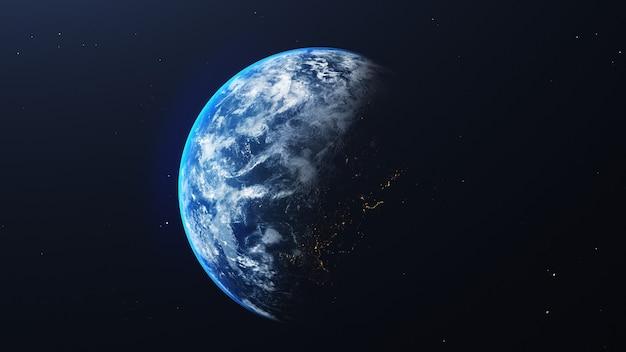 Erde im weltraumansicht mit leuchtendem sonnenaufgang im universum und im galaxienhintergrund. natur- und weltumweltkonzept
