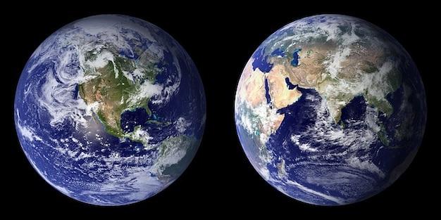 Erde kontinenten planeten seite zurück globus vor