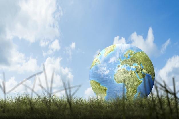 Erde mit blauem himmel. weltumwelttag