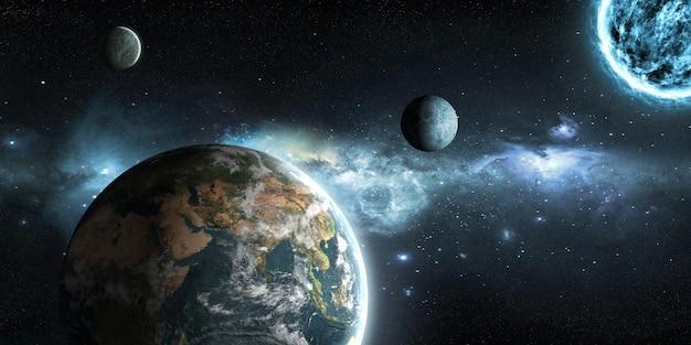 Erde, mond und sonne auf dem hintergrund des weltraums in der 3d-illustration