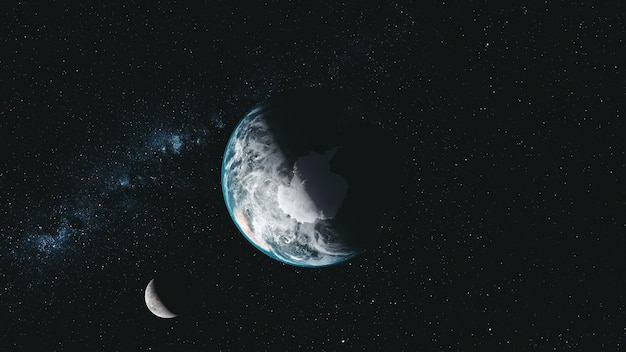 Erde und mond umkreisen