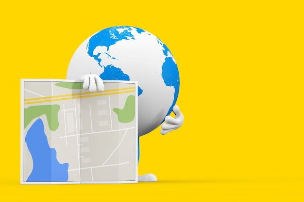 Erdkugel-charakter-maskottchen mit abstrakter stadtplan-karte auf einem gelben hintergrund. 3d-rendering