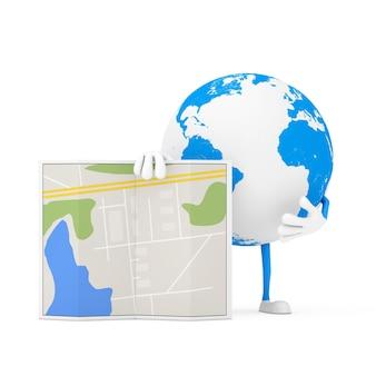 Erdkugel-charakter-maskottchen mit abstrakter stadtplan-karte auf weißem hintergrund. 3d-rendering