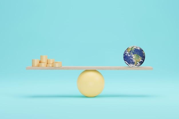 Erdkugel gegen münze auf skalen 3d-darstellung. waage auf der waage. elemente dieses von der nasa bereitgestellten bildes