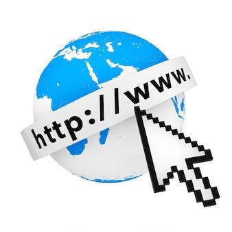 Erdkugel mit internetadressentext und pixel-cursor auf weißem hintergrund. 3d-rendering.