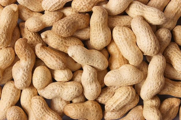Erdnüsse auf hellem hintergrund nahaufnahme nüsse