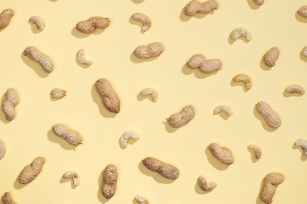 Erdnuss und cashewnüsse lagen flach