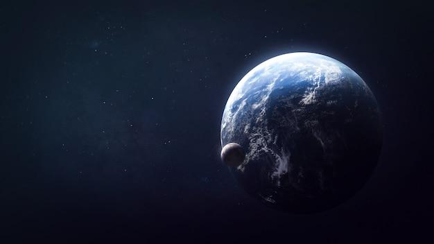 Erdplanet im weltraum mit satelliten-mondelementen dieses von der nasa bereitgestellten bildes