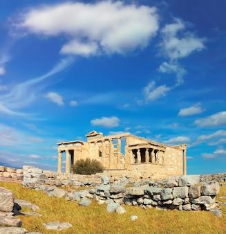 Erechtheions-tempel-akropolise, athen, griechenland, panoramabild
