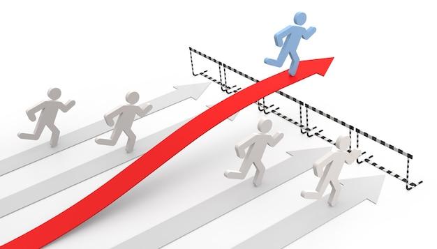 Erfolg im geschäft mit legaler bewegung - konzeptionelles 3d-bild mit pfeil und hindernissen