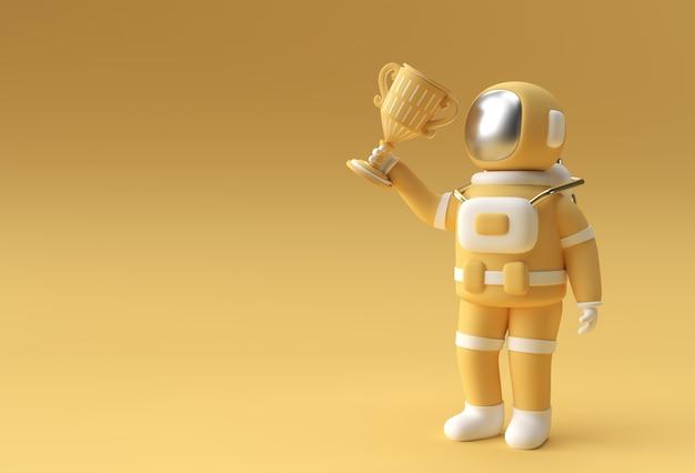 Erfolgreicher astronaut bekam den ersten preis trophäe 3d rendering.