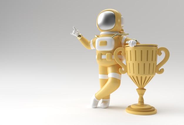 Erfolgreicher astronaut hat die erste preis-trophäe 3d-rendering erhalten.