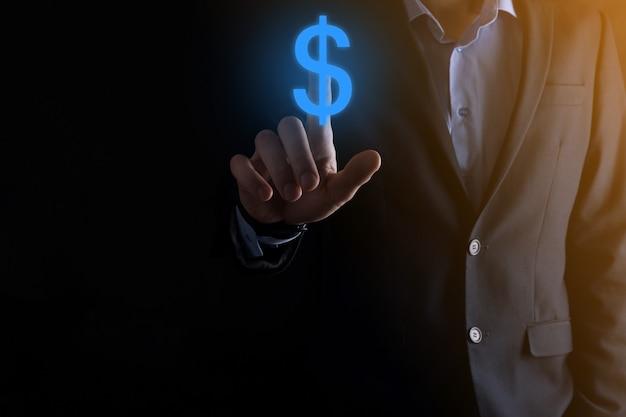 Erfolgreiches internationales finanzsymbol-sinvestment-konzept mit geschäftsmann-mann-person, der wachstum, diagramme und dollarzeichen, digitale technologie zeigt.