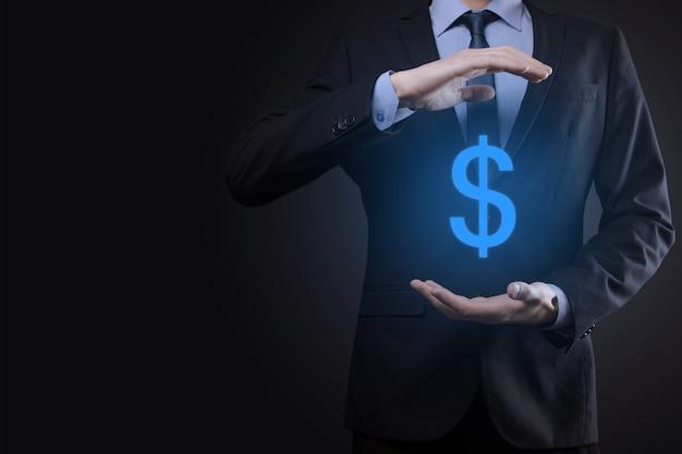 Erfolgreiches internationales finanzsymbol-sinvestment-konzept mit geschäftsmannmann