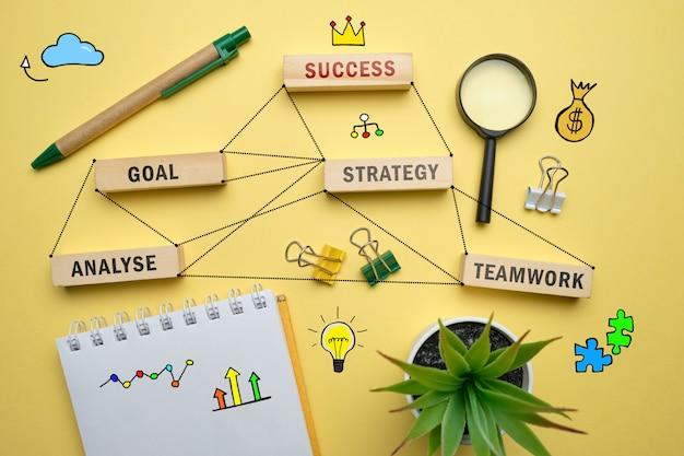 Erfolgskonzept - holzklötze mit inschriften coaching, lernen, können, lehren.