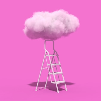 Erfolgskonzept. trittleiter, die zu den flauschigen wolken auf einem rosa hintergrund führt. 3d-rendering