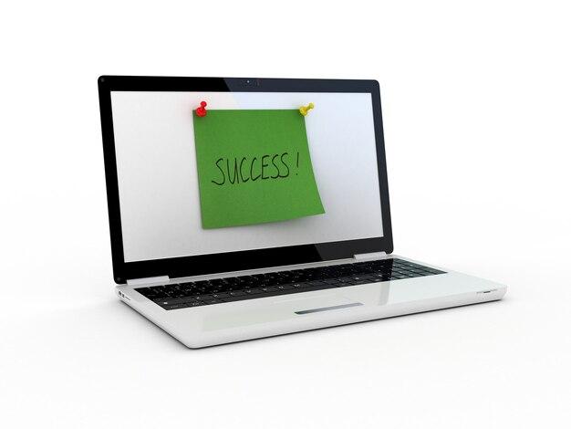 Erfolgstext auf dem laptop-bildschirm