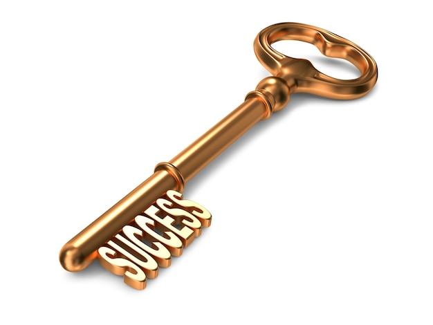 Erfolgstext auf goldenem schlüssel auf weißem hintergrund