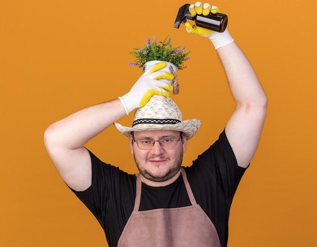 Erfreulicher junger männlicher gärtner, der gartenhut und handschuhe trägt, die blume im blumentopf mit sprühflasche auf kopf lokalisiert auf orange wand wässern