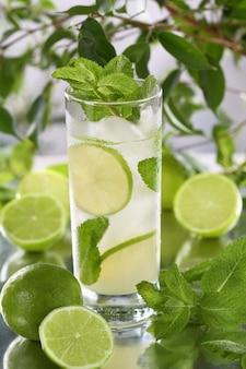 Erfrischender bio-mojito-cocktail aus frischem limetten-weiß-rum kombiniert mit frischem saft