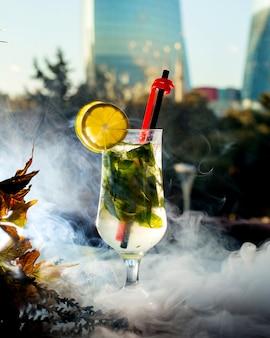 Erfrischender cocktail mit minzblättern und zitronenscheiben