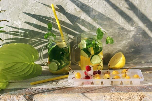 Erfrischungsgetränk aus bio-früchten, gurken und minzblättern, eis