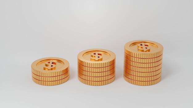 Erhöhen sie stapel von goldmünzen mit wachsendem spross bis zum ast mit blättern, die auf weiß isoliert sind