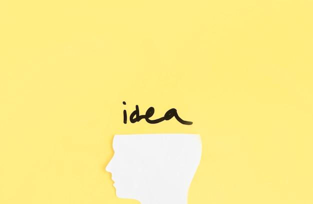 Erhöhte ansicht des menschlichen kopfes mit ideenwort auf gelbem hintergrund