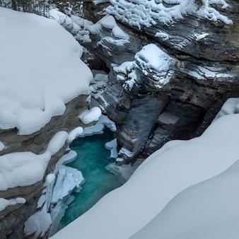 Erhöhte ansicht des wasserbeckens, athabasca-fälle, jasper, jasper national park, alberta, kanada