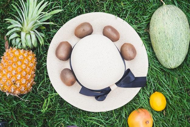 Erhöhte ansicht von verschiedenen gesunden früchten und von hut auf grünem gras