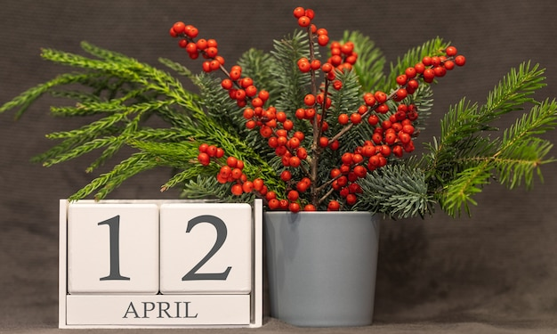 Erinnerung und wichtiges datum 12. april, tischkalender - frühling.