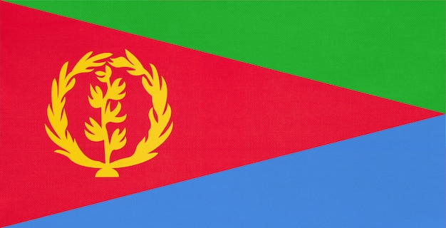 Eritrea-staatsangehöriggewebeflagge, textilhintergrund. symbol des afrikanischen weltlandes.