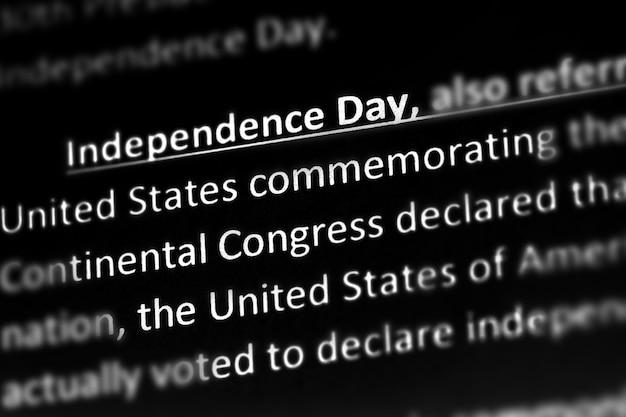 Erklärung oder beschreibung zum unabhängigkeitstag der vereinigten staaten im wörterbuch oder artikel.