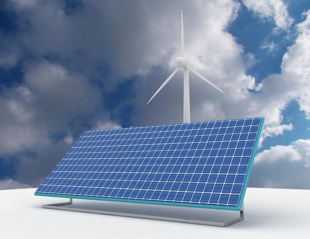 Erneuerbares energiekonzept mit netzanbindungen sonnenkollektoren und windkraftanlagen. 3d gerenderte darstellung