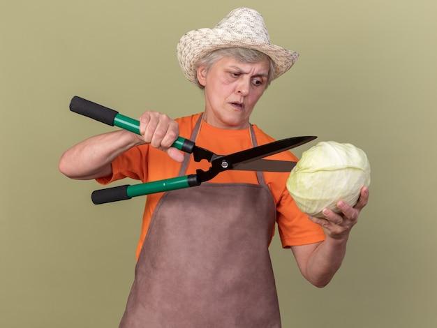 Ernsthafte ältere gärtnerin mit gartenhut, die eine gartenschere hält und kohl anschaut