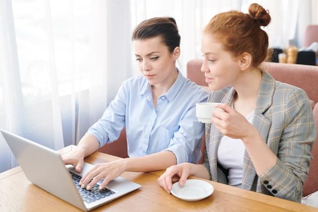 Ernsthafte konzentrierte junge geschäftsfrauen, die aufmerksam statistiken auf dem laptop anzeigen, während sie ein neues projekt im café planen