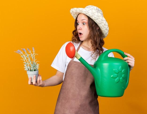 Erschrockene junge gärtnerin mit gartenhut, die gießkanne hält und blume im blumentopf in der hand betrachtet
