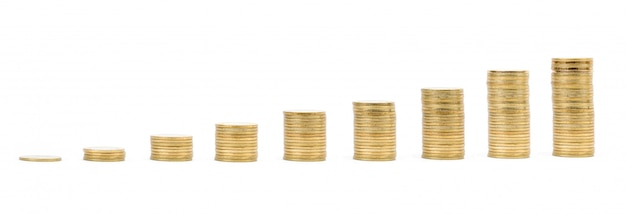 Ersparnisse, steigende goldmünzenspalten