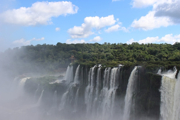 Erstaunliche ansicht von wasserfälle mit nebel in einem park von brasilien, das durch bäume umgibt