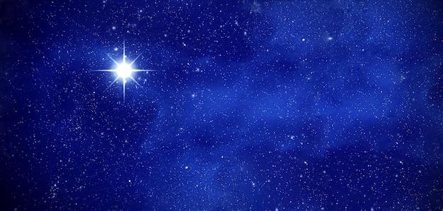 Erstaunliche polaris im tiefen sternenhimmel, raum mit sternen, panoramablick