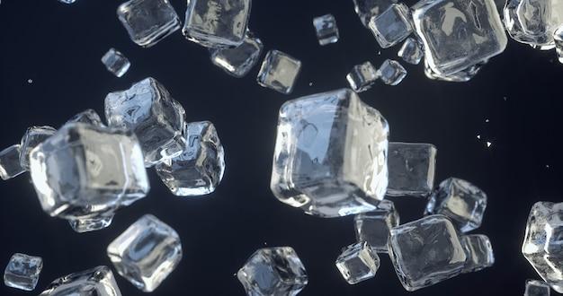 Erstaunliche szene von eiswürfeln, die in superzeitlupe fallen. eiswürfel, die auf weißen hintergrund fallen. eiskristalle. zuckerkristalle. glasblöcke. 3d-rendering.