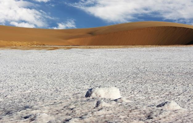 Erstaunlicher blick vom salz auf die düne. namibia, afrika