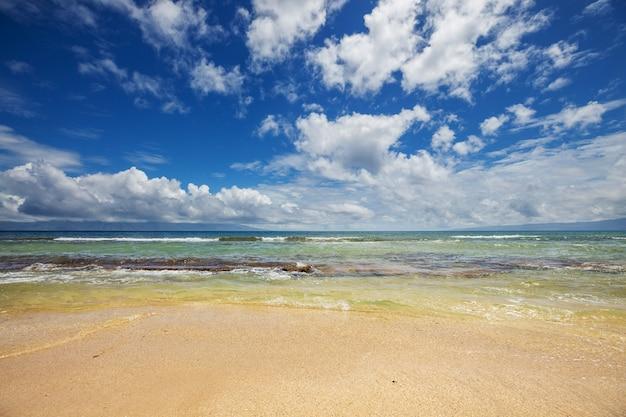 Erstaunlicher hawaiianischer strand. wellen sie im ozean bei sonnenuntergang oder sonnenaufgang mit surfer. welle mit warmen sonnenuntergangsfarben.