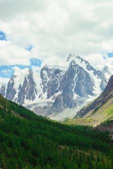 Erstaunlicher sehr großer gletscher hinter nadelbaumwald.