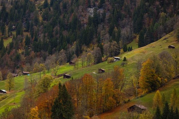 Erstaunliches touristisches alpines dorf mit berühmter kirche und staubbach-wasserfall, lauterbrunnen, die schweiz, europa