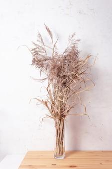 Erstaunliches trendiges bouquet mit getrocknetem pampagras in der vase. minimales boho-innendekorationskonzept. champagnerfarbe im innenraum.