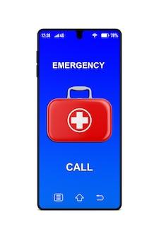Erste-hilfe-ausrüstung und telefon auf weißem hintergrund. isolierte 3d-darstellung